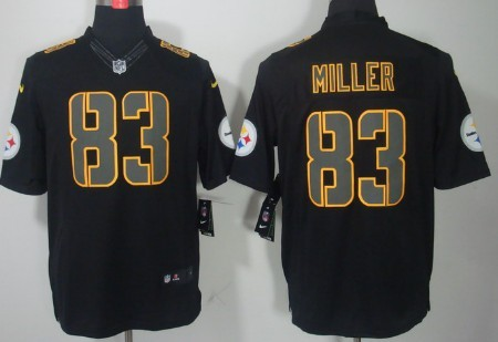 9a98c288f16 Nike Pittsburgh Steelers  83 Heath Miller Black Impact Limited Jersey