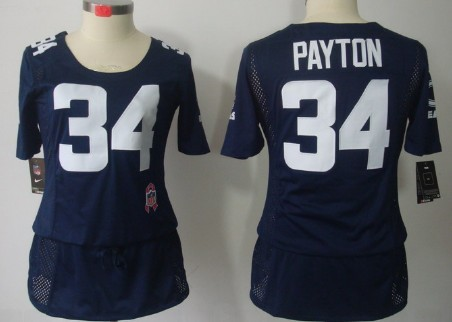 nike chicago bears 34 walter payton breast cancer awareness navy blue womens jersey