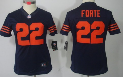 Nike Chicago Bears  22 Matt Forte Blue With Orange Limited Womens Jersey 15a544374