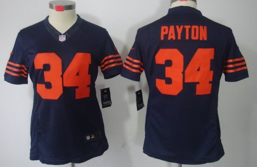 Nike Chicago Bears  34 Walter Payton Blue With Orange Limited Womens Jersey 9b00610d1