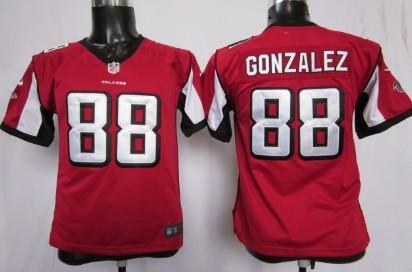 brand new f015f 1c554 nike atlanta falcons 88 tony gonzalez red game kids jersey