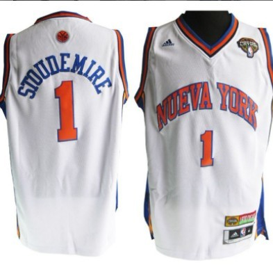 ... Adidas Blue Mens New York Knicks 1 Amare Stoudemire Latin Nights Revolution  30 Swingman White Jersey ... 98429a374