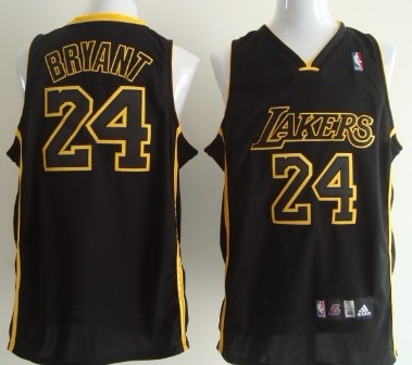 f828f72d1 Los Angeles Lakers 24 Kobe Bryant All Black With Yellow Swingman Jersey ...