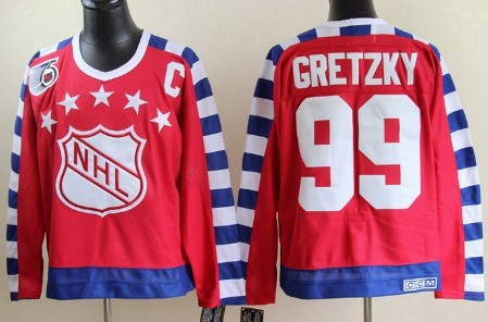 NHL 1992 All-Star #99 Wayne Gretzky Red 75TH Throwback CCM Jersey