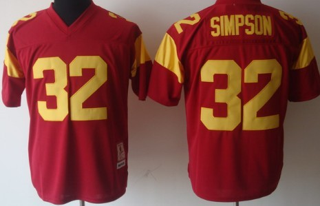 USC Trojans #32 O.J Simpson Red Throwbck Jersey