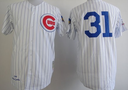 3dddae40 ... Chicago Cubs 31 Ferguson Jenkins 1969 White Throwback Jersey ... mens  chicago cubs 31 fergie jenkins authentic grey throwback mitchell and ness  1968 ...