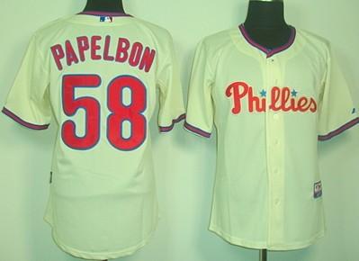 8269a9147 Philadelphia Phillies 58 Jonathan Papelbon Cream Jersey ...
