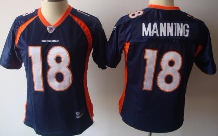 Denver Broncos #18 Peyton Manning Blue Womens Jersey