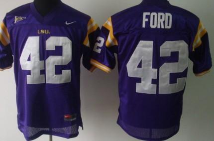 LSU Tigers #42 Michael Ford Purple Jersey