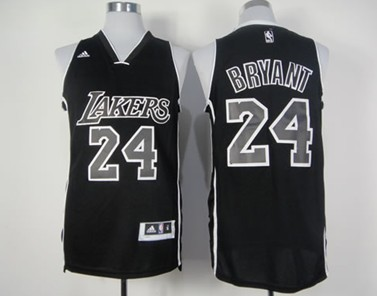 8b658014229 Los Angeles Lakers 24 Kobe Bryant Revolution 30 Swingman All Black With White  Jersey ...