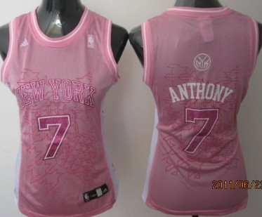 new style 89d25 b8abc New York Knicks #7 Carmelo Anthony Pink Womens Jersey on ...