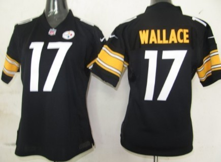 efeec3856 ... NFL Home Jersey 55 Nike Pittsburgh Steelers 17 Mike Wallace Black Game Womens  Jersey Vintage Reebok ...