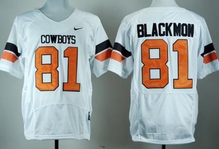 Oklahoma State Cowboys #81 Justin Blackmon White Pro Combat Jersey