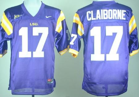 LSU Tigers #17 Morris Claiborne Purple Jersey
