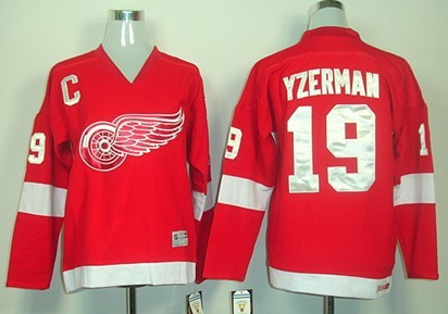 ... NHL Away Premier Detroit Red Wings 19 Steve Yzerman Red Throwback CCM  Kids Jersey Mens ... 91585fe7e