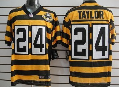 8ede8b350 ... Nike Pittsburgh Steelers 24 Ike Taylor Yellow With Black Throwback 80TH  Jersey ...