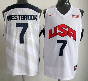 c48b3086701 ... 2012 Olympics Team USA 7 Russell Westbrook Revolution 30 Swingman White  Jersey .