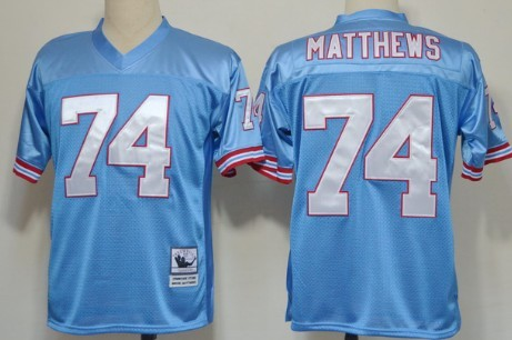 f541a6cf1a6 ... Houston Oilers 74 Bruce Matthews Light Blue Throwback Jersey Mitchell  And Ness Oilers 9 Steve McNair Baby blue Stitched Throwback NFL ...