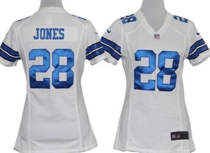 nike dallas cowboys 28 felix jones white game womens jersey