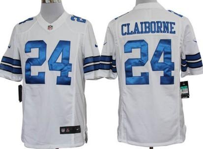 nike dallas cowboys 24 morris claiborne white limited jersey