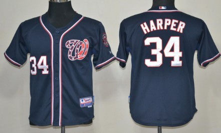 half off 92e51 2dbce washington nationals 34 bryce harper navy blue jersey