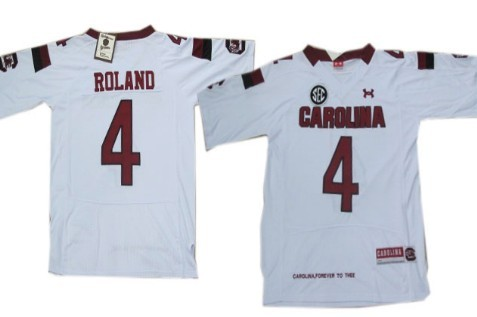 South Carolina Gamecocks #4 Shaq Roland 2013 White Jersey