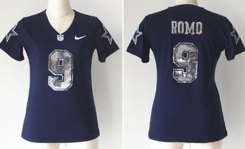 897dd3e9d ... Nike Dallas Cowboys 9 Tony Romo Handwork Sequin Lettering Fashion Blue  Womens Jersey Nike Cowboys 88 Dez Bryant Navy Blue Team Color Womens  Stitched NFL ...