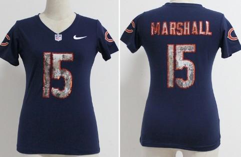 e988b957b Nike Chicago Bears #15 Brandon Marshall Handwork Sequin Lettering Fashion  Blue Womens Jersey