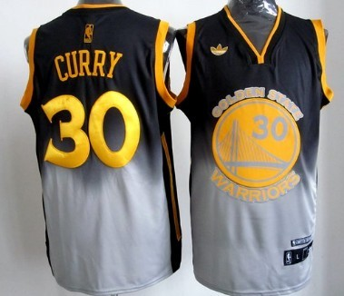 exsaw Golden State Warriors #30 Stephen Curry Black/Gray Fadeaway
