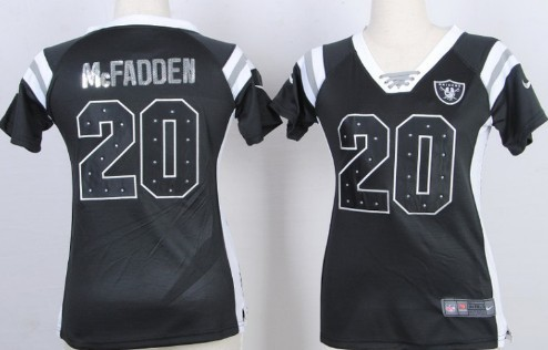 ... Handwork Sequin Lettering Fashion Black Womens Jersey Nike Oakland  Raiders 20 Darren McFadden Drilling Sequins Black Womens Jersey Womens Nike  NFL ... 8ee72d2d1