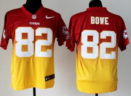 nike kansas city chiefs 82 dwayne bowe redyellow fadeaway elite jersey
