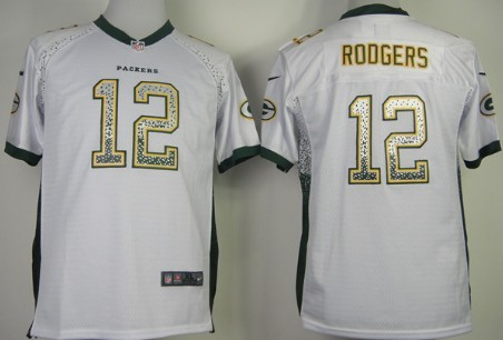 4d6f43731 ... Nike Green Bay Packers 12 Aaron Rodgers Drift Fashion White Kids Jersey  ...