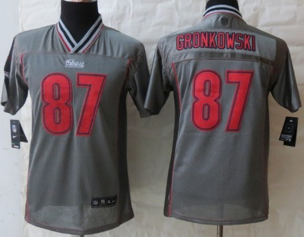 nike new england patriots 87 rob gronkowski 2013 gray vapor kids jersey