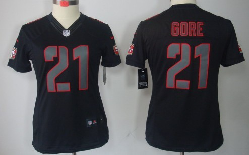 ae0a3067690 ... denmark nike san francisco 49ers 21 frank gore black impact limited womens  jersey 5793a e583a