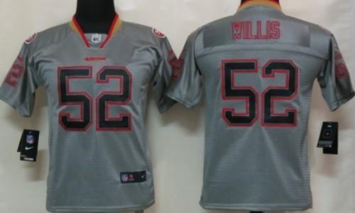 ... 21 Frank Gore Grey Shadow NFL Jerseys Nike San Francisco 49ers 52  Patrick Willis Lights Out Gray Kids Jersey ...