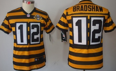 best loved 38d51 29f2a nike pittsburgh steelers 12 terry bradshaw yellow with black ...