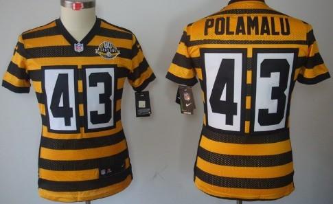 ef83dc0b2 nike pittsburgh steelers 43 troy polamalu yellow with black throwback 80th  kids jersey