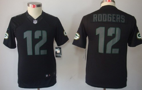 nike green bay packers 12 aaron rodgers black impact limited kids jersey be9138c1e