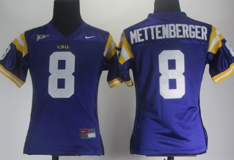 LSU Tigers #8 Zach Mettenberger Purple Womens Jersey