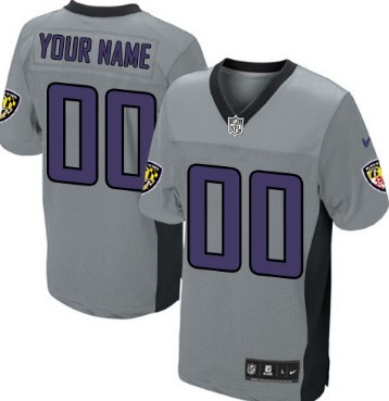 1c0a71a4fcbf ... Mens Nike Baltimore Ravens Customized Gray Shadow Elite Jersey ...