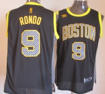 497289c00 ... Boston Celtics 9 Rajon Rondo Black Electricity Fashion Jersey ...