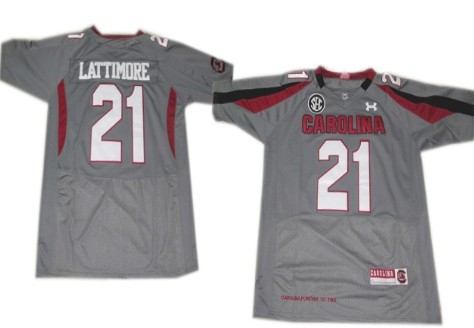 South Carolina Gamecocks #21 Marcus Lattimore Gray Jersey
