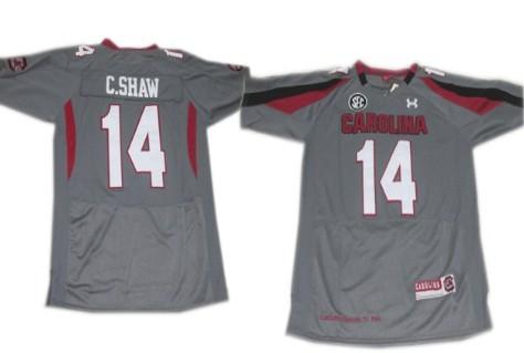 South Carolina Gamecocks #14 Connor Shaw Gray Jersey