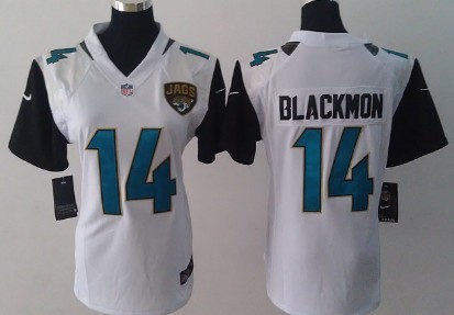 7ac5c4008 Nike Jacksonville Jaguars  14 Justin Blackmon 2013 White Game Womens Jersey