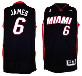 b7096f5dfcd4 ... Miami Heats 6 LeBron James Revolution 30 Swingman 2013 Black Jersey ...