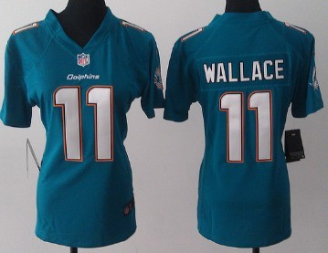 white nike miami dolphins 11 mike wallace 2013 green game womens jersey