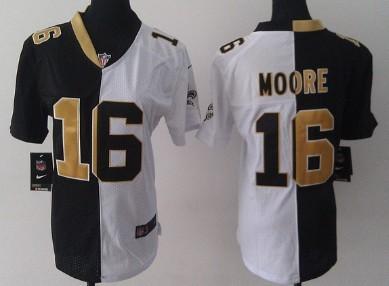 nike new orleans saints 16 lance moore blackwhite two tone womens jersey