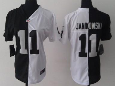Nike Oakland Raiders  11 Sebastian Janikowski Black White Two Tone Womens  Jersey 2f690f266
