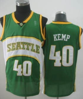8633155b1 Seattle Supersonics  40 Shawn Kemp 2007-08 Green Swingman Jersey on ...