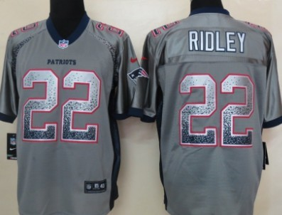 nike new england patriots 22 stevan ridley drift fashion gray elite jersey mens